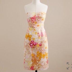J Crew Watercolor Floral Strapless Dress 10